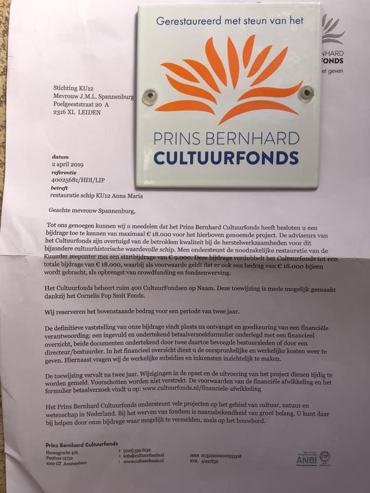 Toezegging Prins Bernhard Cultuurfonds